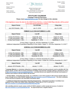 NYS Board of Elections 2018 Campaign Finance Filing Calendar